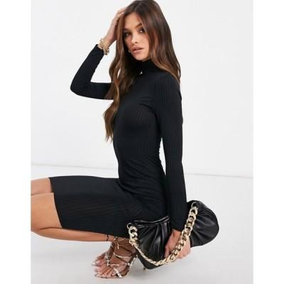 フラウンスロンドン レディース ワンピース トップス Flounce London basic ribbed roll neck long sleeve dress in black