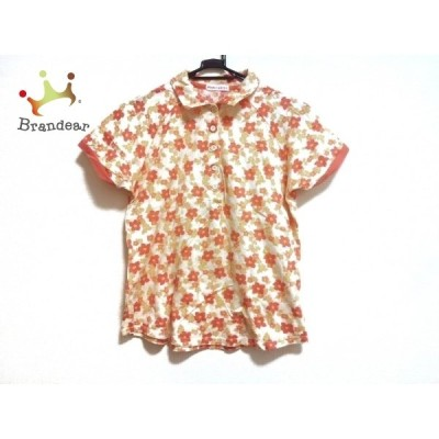 パーリーゲイツ 半袖ポロシャツ サイズ2 M レディース 美品 - アイボリー×オレンジ×マルチ 新着 20200828