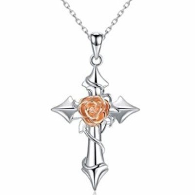 Sterling Silver Cross Necklaces With Rose Flower for Women or Girls, Anniversary and Birthday and Christmas Gifts Jewelry