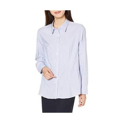 セシール シャツ レギュラーカラー 長袖 着崩れしにくい 形態安定 UVカット 抗菌防臭 レディース ストライプA LL