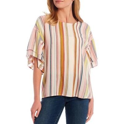 ボベー レディース シャツ トップス Multicolor Stripe Print Double Ruffle Short Sleeve Top