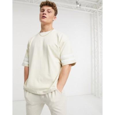 ニュールック 半袖Tシャツ メンズ New Look co-ord t-shirt with stripe detail in stone エイソス ASOS ベージュ