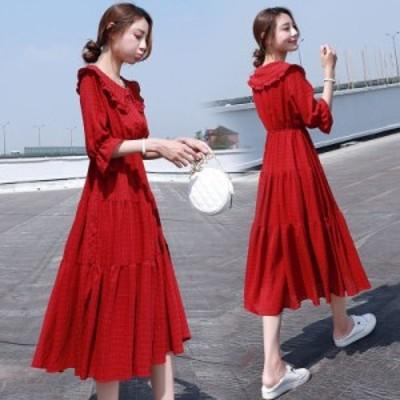 ワンピース レディース 夏 きれいめ ロング丈ワンピース 韓国風 シフォン 半袖  大きいサイズ 新作 カジュアル ゆったり