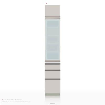 上棚付き食器棚 キッチンボード パモウナ IEシリーズ IE-S400KL [開き扉] (幅40cm, 奥行き45cm, 左開き仕様, シルキーアッシュ色)