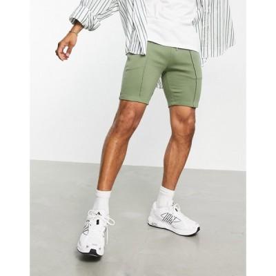 エイソス ASOS DESIGN メンズ ショートパンツ ボトムス・パンツ co-ord tapered jersey shorts with pin tuck in olive green