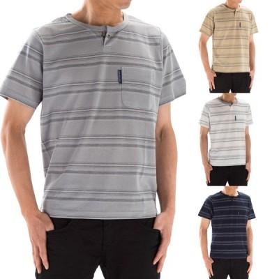 麻混 ボーダー ブランド Tシャツ 吸汗速乾 キーネック メンズ 半袖