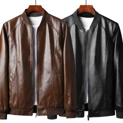 レザージャケット ビジネス革ジャン アウターPUライダースジャケット カジュアルトップスメンズアウトドア バイク 父の服