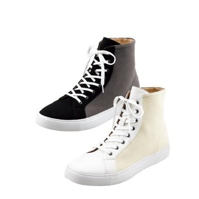 靴(シューズ) 約6cmの脚長効果が得られる! ヒールアップハイカットスニーカー メンズ 25cm-27.5cm インサイド