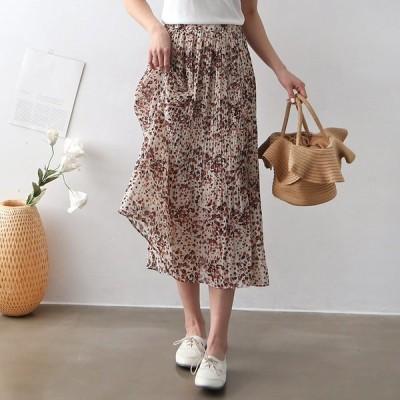 プリーツスカート  シォンスカート  花柄  ウエストゴム  スカート