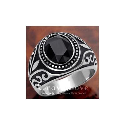 (メンズリング・男の指輪) 唐草模様 メンズ シルバー ステンレス リング 指輪 | ブラック オニキスやブラックダイヤのような黒色 | ボリューム感 幅広