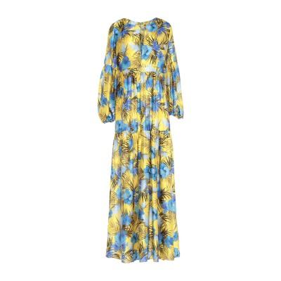 BLACK CORAL ロングワンピース&ドレス イエロー 38 シルク 100% ロングワンピース&ドレス