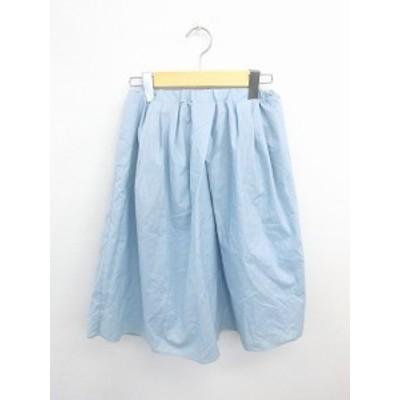 【中古】ラス ROUS スカート ギャザー フレア ひざ丈 無地 シンプル 綿 コットン 36 青 ライトブルー /TT39 レディース