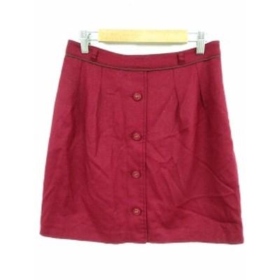 【中古】プロポーション ボディドレッシング スカート 台形 ひざ丈 フロントボタン ウール ラメ 2 赤 レッド レディース