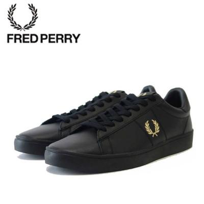 FRED PERRY フレッドペリー  B 8250 102(ユニセックス)SPENCER LEATHER (スペンサー レザー) カラー:BLACK 天然皮革のローカットスニーカー