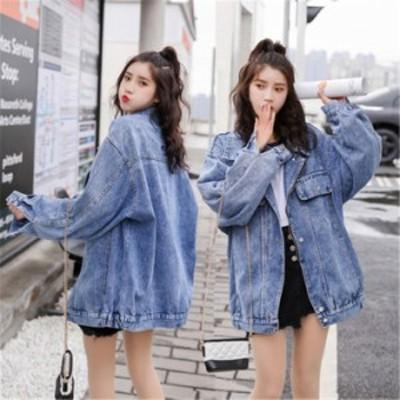 うなら今 デニムジャケット 女性 カレッジ風 レトロ ゆったり 韓国