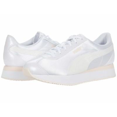 プーマ スニーカー シューズ レディース Turino Stacked Glitter Puma White/Puma White