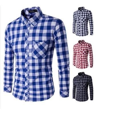 ボタンダウンシャツ アメカジ系 ネルシャツ チェック 長袖シャツ カジュアルシャツ 開襟シャツ gms12