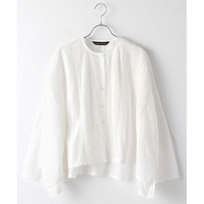 MARcourt/マーコート mizuiro ind ピンタックノーカラーワイドシャツ off white FREE