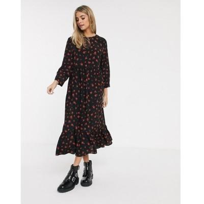 プルアンドベアー レディース ワンピース トップス Pull&Bear midi smock dress in floral print