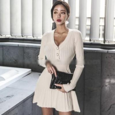 送料無料 秋冬 韓国ファッション セクシー ネックニットドレス ウエストスリム 長袖 フレアスカート ショート丈