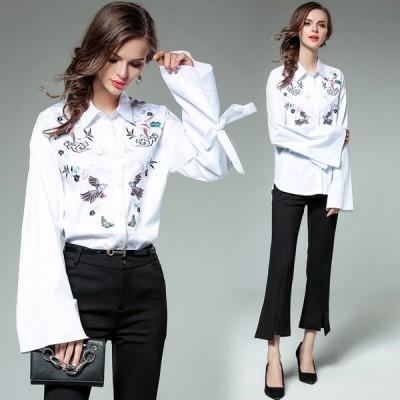 レディース トップス シャツ 折り襟 ブラウス 刺繍 コットン リネン ボタン 長袖 ゆったり 大人 通勤オフィス おしゃれ OL 体型カバー
