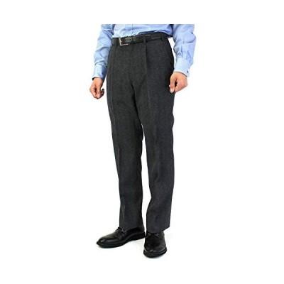 [ユナイテッド] スラックス 裾上げ済 ヘリンボン ワンタック メンズ (ブラック W88 / L76)