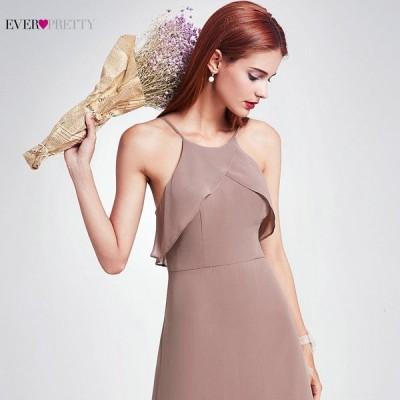 ドレス ロング Aライン エレガント 花嫁介添人用 シフォン ドレス フリル ウェディング パーティー  薄紫