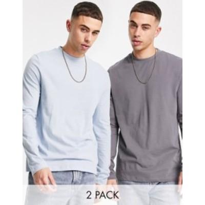 エイソス メンズ シャツ トップス ASOS DESIGN 2 pack long sleeve t-shirt with crew neck Multi