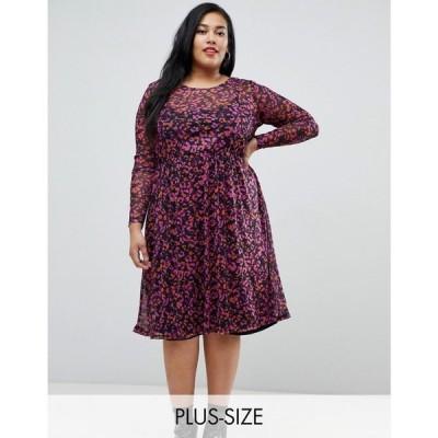 ジュナローズ Junarose レディース ワンピース ワンピース・ドレス sheer leopard print midi dress Multi