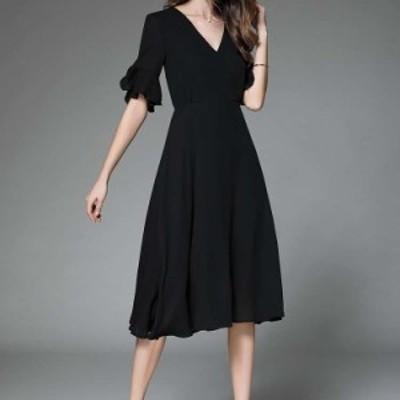 パーティードレス 結婚式 お呼ばれドレス 20代 30代 40代 袖あり ロング 黒ロングワンピース 大きいサイズ お呼ばれワンピース 二次会 成
