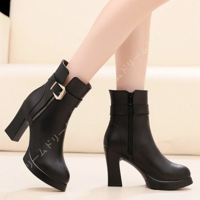 ブーツ 袴用 厚底靴 サイドファスナー ショート レディース 黒 アンクルブーツ 綺麗 可愛い ハイヒール ブーティ シューズ 歩きやすい 美脚ブーツ ブーティ