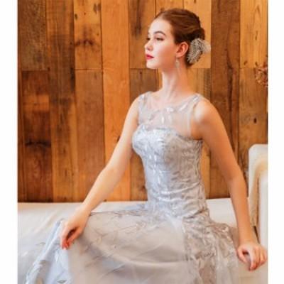 スレンダーライン 大きいサイズ マキシ丈 ノースリーブ  20代 30代 シルバー イリュージョンネック エレガント 上品 結婚式 ブライズメイ