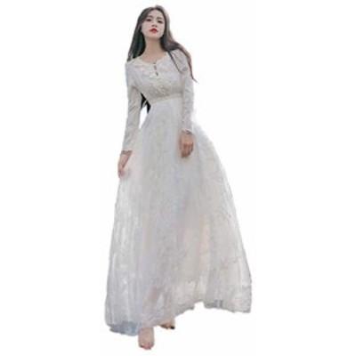 結婚式ドレス マキシワンピ ドレス パーティードレス 長袖 マキシ丈 二次会ドレス ホワイトドレス ロング ドレスワンピース レディース (