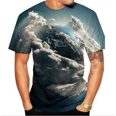 短袖TシャツT-shirt スウェット大人メンズTシャツ半袖ハロウィン親子ペア子供3Dプリント地球柄  男女兼用コスプレ雲柄スポーツ フィットネス全店二点送料無料