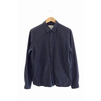 【中古】ヤエカ YAECA medium fit B.D shirt ナッピング加工 スナップ ボタン 長袖シャツ 13167 L ネイビー ブランド古着ベクトル 中古201005 0014
