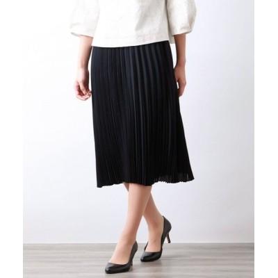 AMACA/アマカ マットボイルプリーツスカート ネイビー3 40