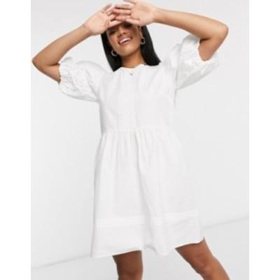 リバーアイランド レディース ワンピース トップス River Island embroidery detail mini dress in white White broderie
