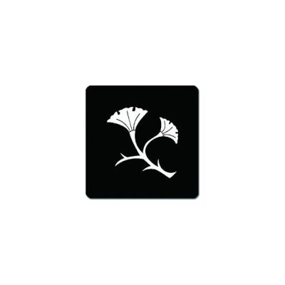 家紋シール 二葉枝銀杏紋 24cm x 24cm KS24-2518W 白紋