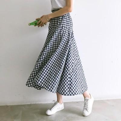 PIPPIN レディース スカート Hello Harvey Mysterious Gingham Check Flare Banding Skirt #5920