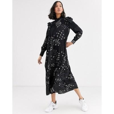 ホイッスルズ レディース ワンピース トップス Whistles limited ona patchwork print tiered midi dress