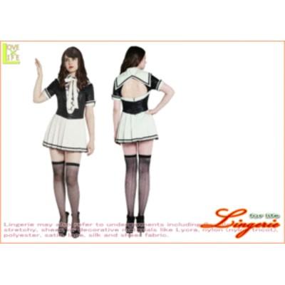 【1 】フェティッシュセーラー【アイボリー】【制服】【女子高生】【学生服】【セーラー服】身頃はハードな合皮素材。大胆な背中見せ&胸