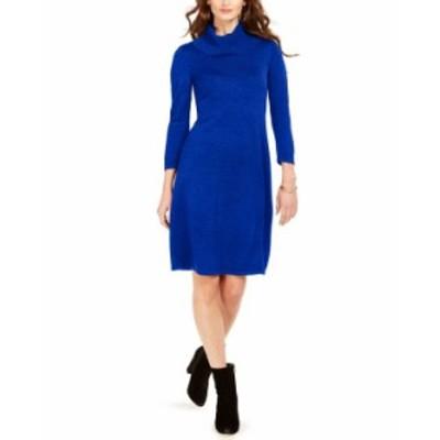 ナインウェスト レディース ワンピース トップス Cowlneck Sweater Dress Royal Blue