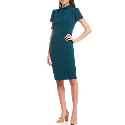 マギーロンドン レディース ワンピース トップス Petite Size Tie Neck Puff Sleeve Stretch Crepe Sheath Dress Neo Emerald