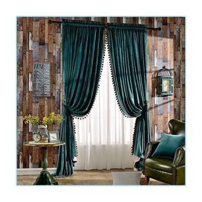 新品Melodieux Luxury Pom Poms Velvet Curtains for Bedroom Living Room Thermal Insulated Rod Pocket Drapes, 52x84 Inch, Antique Green (1 Pa