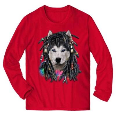 【ヒップホップ レゲエシベリアンハスキー 犬 いぬ】メンズ 長袖 Tシャツ by Fox Republic