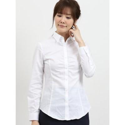 形態安定レギュラーカラー長袖ギャザーシャツ