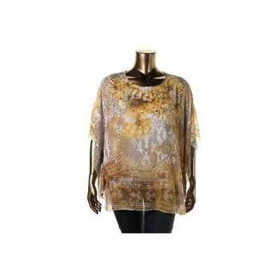 トップス&ブラウス JM Collection JM コレクション 3827 レディース イエロー プリント カジュアル Top Shirt Plus 1X BHFO