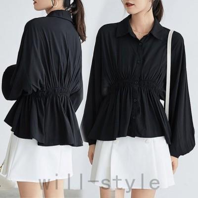 ブラウスレディースシャツ黒ウエストギャザー体型カバー二の腕カバードルマンスリーブ長袖