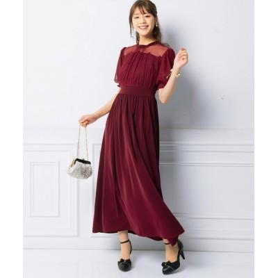 大きいサイズ デコルテシースルーデザインロングワンピース(プライベートレーベル) ,スマイルランド, ワンピース, plus size dress