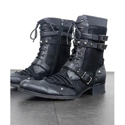 ZealMarket/SFW / ポインテッドトゥベルトヒールレースアップブーツ MEN シューズ > ブーツ